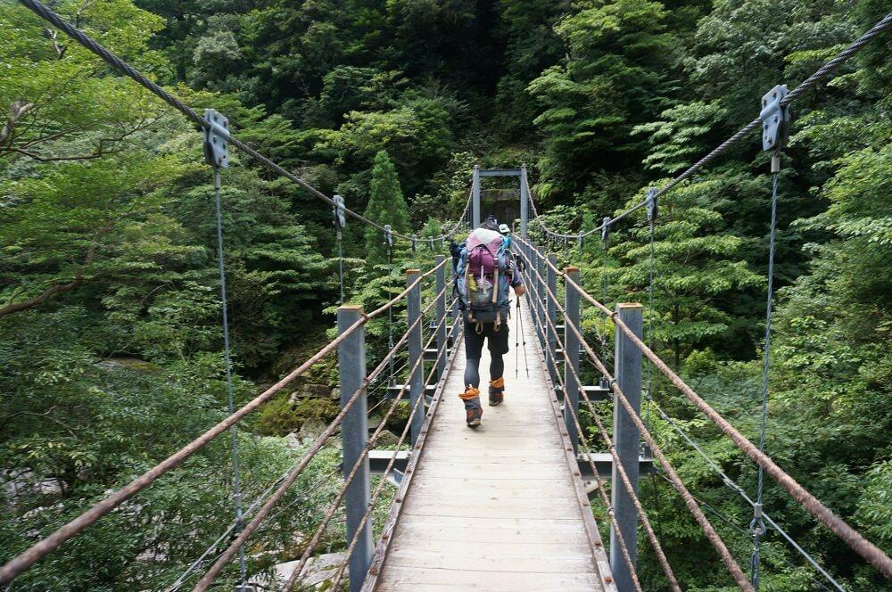 つり橋を歩く人の後ろ姿